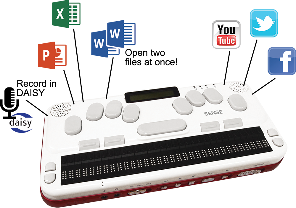 Assistive Technology, Braille Sense U2 image, highlighting Word, Excel, PowerPoint, DAISY Recording, and Social Media Features