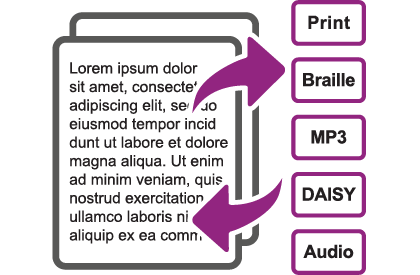 Assistive Technology, Document Conversion Screenshot depicting conversion - Print, Large Print, Braille, MP3, DAISY, Audio