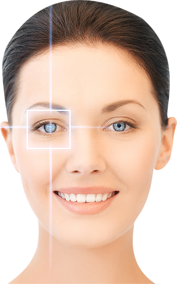 Assistive Technology image of a woman's face with focus target on her right eye.