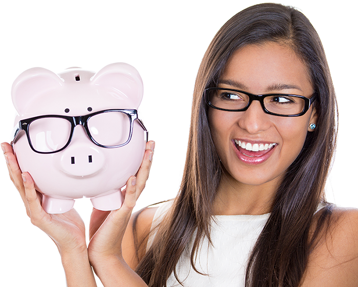 Assistive Technology, image of Woman holding a piggy bank